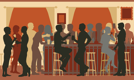 EPS8 editable vector cutout illustration of people drinking in a busy bar in the evening Ilustração
