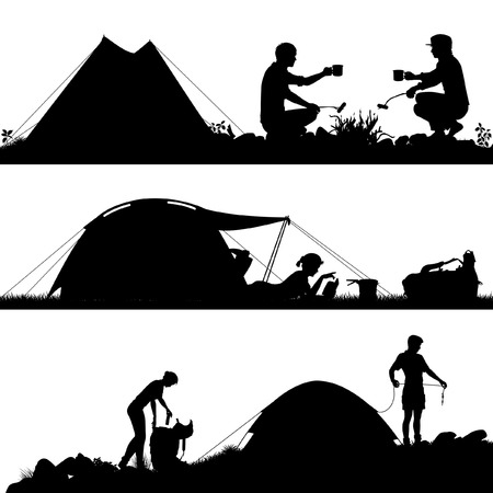 Set of eps8 editable vector silhouettes of people camping with figures and tents as separate objects Reklamní fotografie - 42149546