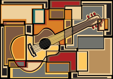 editable vector colorful mosaic illustration of an acoustic guitar