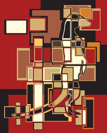 Colorful eps8 editable vector abstract mosaic illustration of a standing meerkat