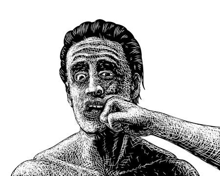 EPS8 bewerkbare vector schets van een man wordt geslagen in het gezicht