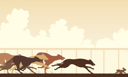 editable vector illustration of greyhound dogs racing around a track