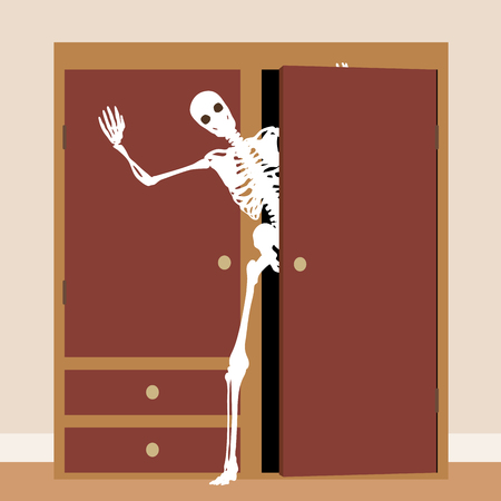 EPS8 editable vector concept illustration of a skeleton waving from a cupboard or closet Çizim
