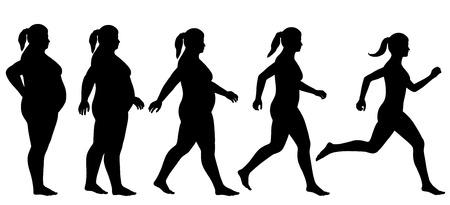 무게를 잃는 운동 여자의 EPS8 편집 가능한 벡터 실루엣 시퀀스 일러스트