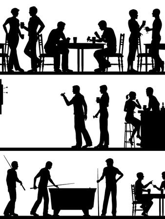 Set eps8 editierbare Vektor-Ausschnitt Vordergrund Silhouetten von typischen britischen Pub-Spiele mit allen Elementen als separate Objekte Standard-Bild - 45935041