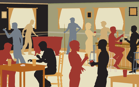 EPS8 editable vector cutout illustration of people drinking in a busy bar and enjoying typical pub games Çizim