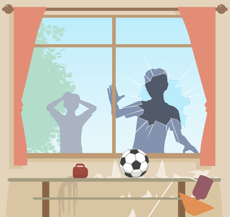 EPS8 editable vector illustration of boys breaking a window with a football Vectores