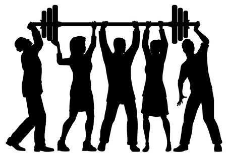 EPS8 editable vector silhouette of a business team working together to lift a heavy weight barbell with all figures as separate objects Иллюстрация