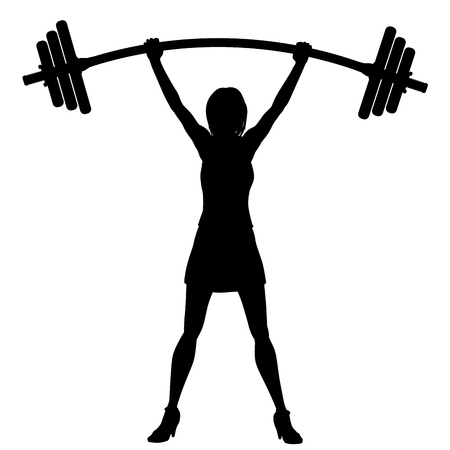 EPS8 editable vector silhouette of a woman easily lifting a heavy weight barbell