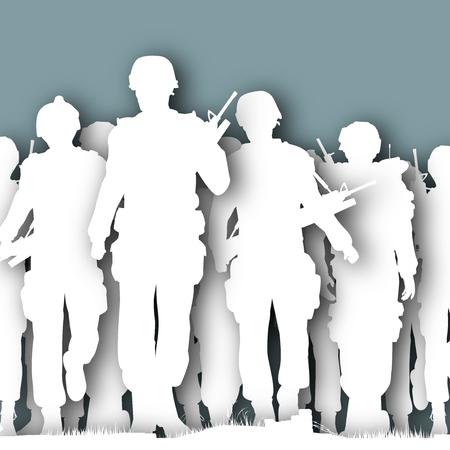 Silhouettes découpées illustrées de soldats armés marchent ensemble Banque d'images - 48676854