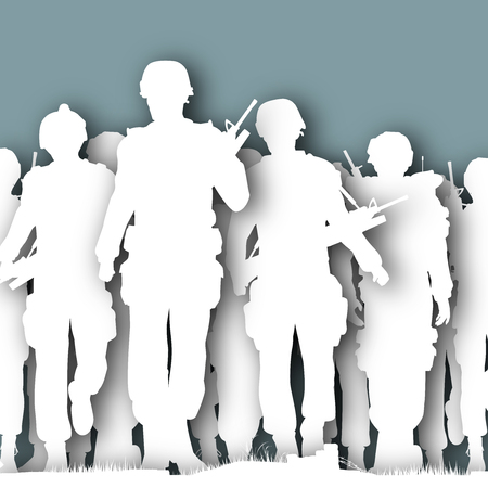 illustrated cutout silhouettes of armed soldiers walking together Foto de archivo