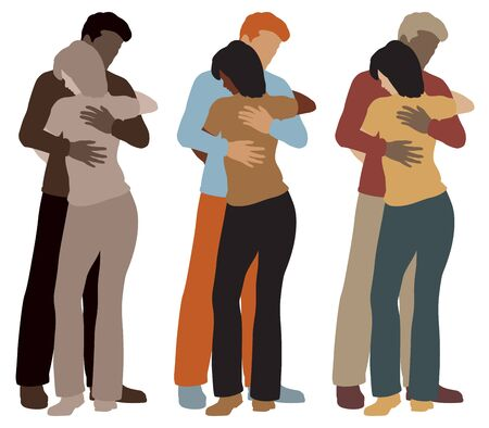 illustration of a man and woman hugging each other in three color variations