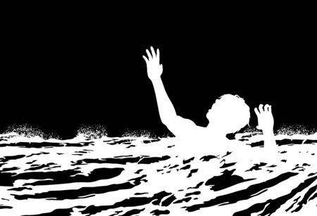 illustration d'un homme qui se noie dans l'eau rugueuse