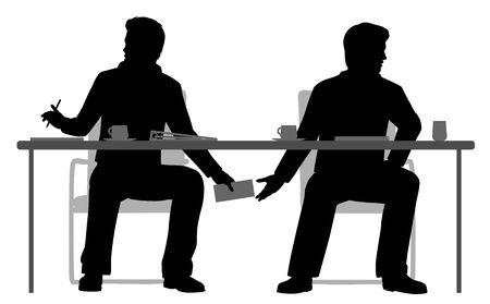illustration of two businessmen making a secret deal under the table 일러스트