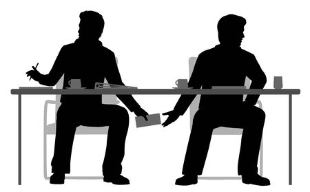 illustration of two businessmen making a secret deal under the table Vectores