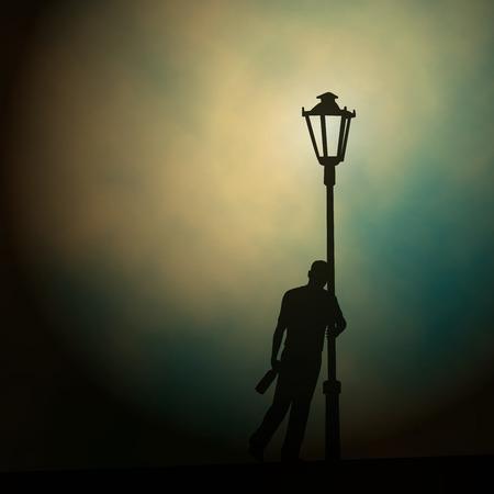 ilustración de un hombre borracho apoyado contra un poste de luz en la noche hecha usando un gradiente de malla Ilustración de vector