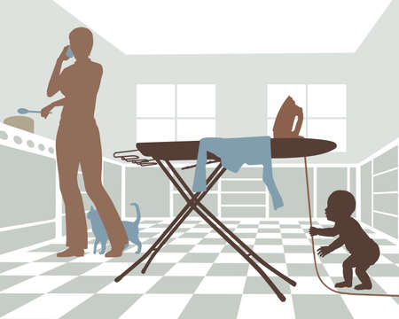 Editable vector illustration of a distracted mother with baby in danger from pulling on the cord of an iron Illustration