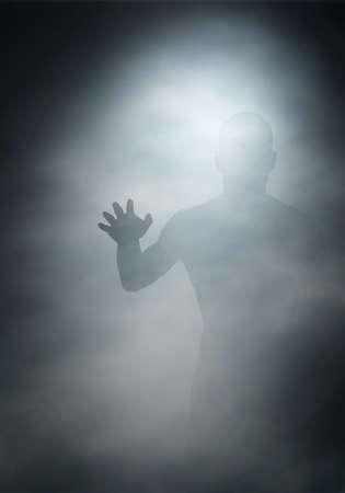 Edycji ilustracji wektorowych z mężczyzną, osiągając przez mgłę utworzony za pomocą siatki gradientu
