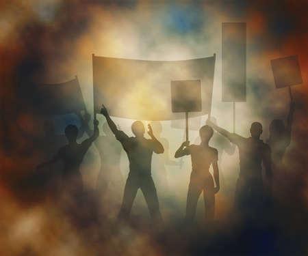 グラデーション メッシュを使用して作成した煙のような雰囲気の中で抗議している人の編集可能なベクトル イラスト  イラスト・ベクター素材