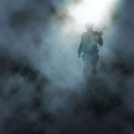 Editable vector illustration of a soldier walking in a smoky battlefield created using gradient meshes Иллюстрация