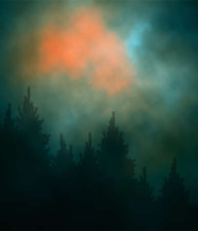Editable vector illustration of a cloudy evening sky over a conifer forest created using gradient meshes Stock Illustratie
