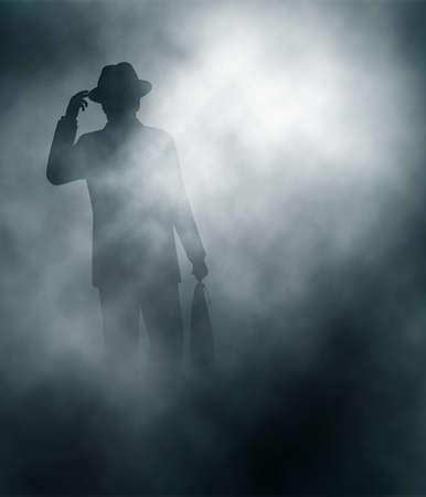 Bewerkbare vector illustratie van een zakenman in mist storten zijn hoed in de begroeting gemaakt met behulp van verloop netten