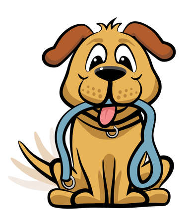 Vector cartoon dog expectantly waiting for a walk with a leash in its mouth