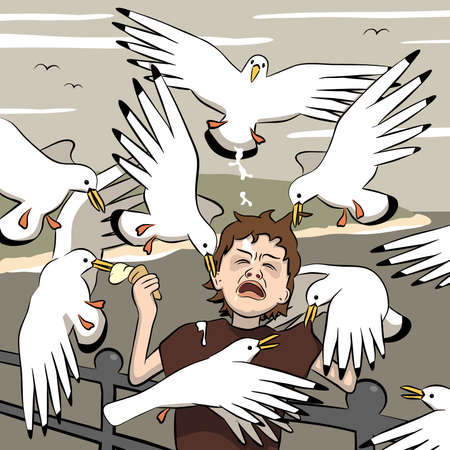Vector illustration of a young boy getting mobbed by gulls after his ice-cream Illustration
