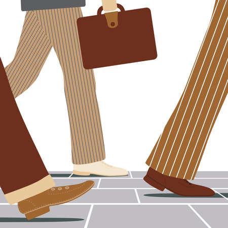 Vector illustration of the legs of businessmen walking along a street