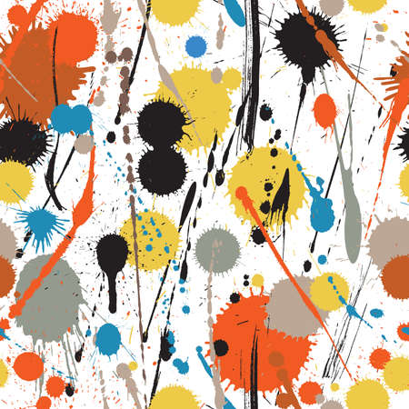 Vector seamless tile of colorful paint drips and drops