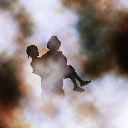 Vector illustration de pompier sauvetage d'une jeune fille d'un feu créé à l'aide d'un filet de dégradé