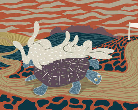 Vector illustration of a hare sleeping on the back of a tortoise to avoid losing the race Illustration