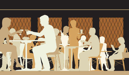 Vector silhouette illustration of people dining in a busy restaurant with all figures as separate objects Banco de Imagens - 73813184