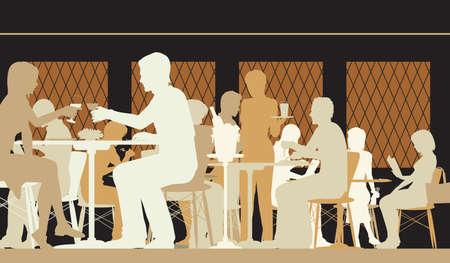 Vector Silhouette Illustration von Menschen in einem gut besuchten Restaurant mit allen Zahlen als separate Objekte im Restaurant zu essen