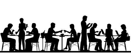 Vector silhouette illustration of people dining in a busy restaurant with all figures as separate objects