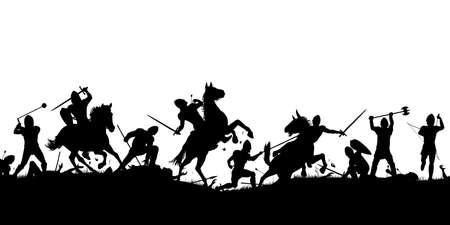 Ilustración de silueta de vector de una escena de batalla medieval con caballería e infantería con figuras como objetos separados Ilustración de vector