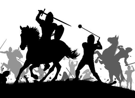 騎兵と歩兵の中世の戦闘シーンのベクトル シルエット イラスト
