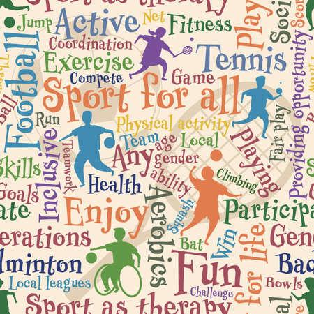 Azulejo inconsútil de vector de personas y palabras sobre la actividad deportiva para todos Ilustración de vector