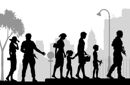 Editable vector silhouette of soldiers escorting a civilian family in an urban scene with all figures as separate objects