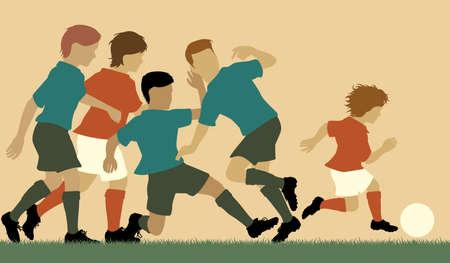 Editable vector illustration of a young boy beating older boys at football Illustration