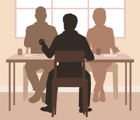Bearbeitbare Vektor-Silhouetten eines Mannes, der von einem Panel von zwei Personen interviewt wird