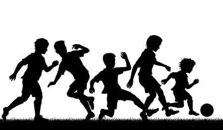 Editable vector silhouette of a young boy beating older boys at football with figures as separate objects