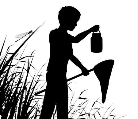 Editable vector silhouette of a boy pond dipping or catching insects in a wetland habitat with figure as separate object