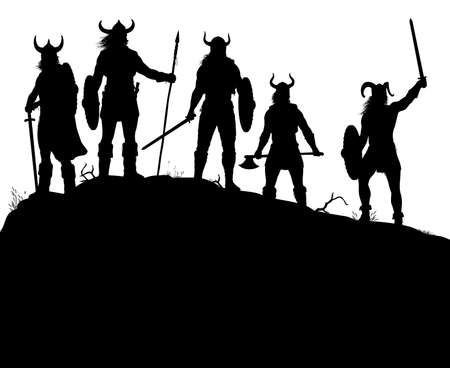 Editable vector silhouettes of a viking raiding party on a windswept outcrop with all figures and weapons as separate objects