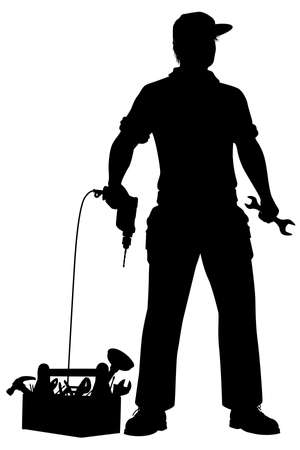 Editable vector silhouette of a repairman and his tools ready to work