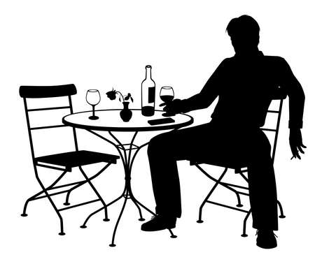 Editable vector silhouette of a man drinking wine by himself at a table for two with all elements as separate objects