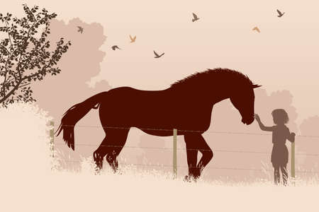 Editable vector illustration of a young girl stroking a horse in a field