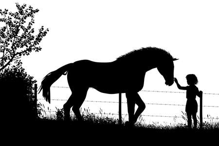 Editable vector silhouette of a young girl stroking a horse in a field with figures as separate objects