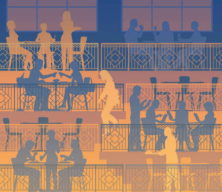 Editable vector illustration of people dining on terraces at a restaurant