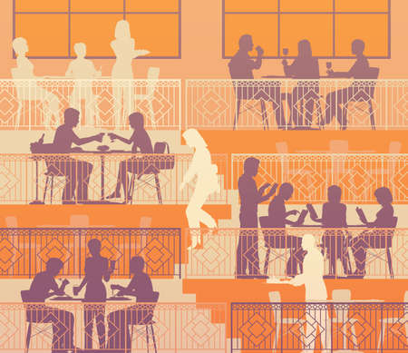 Eps10 editable vector illustration of people dining on terraces at a restaurant